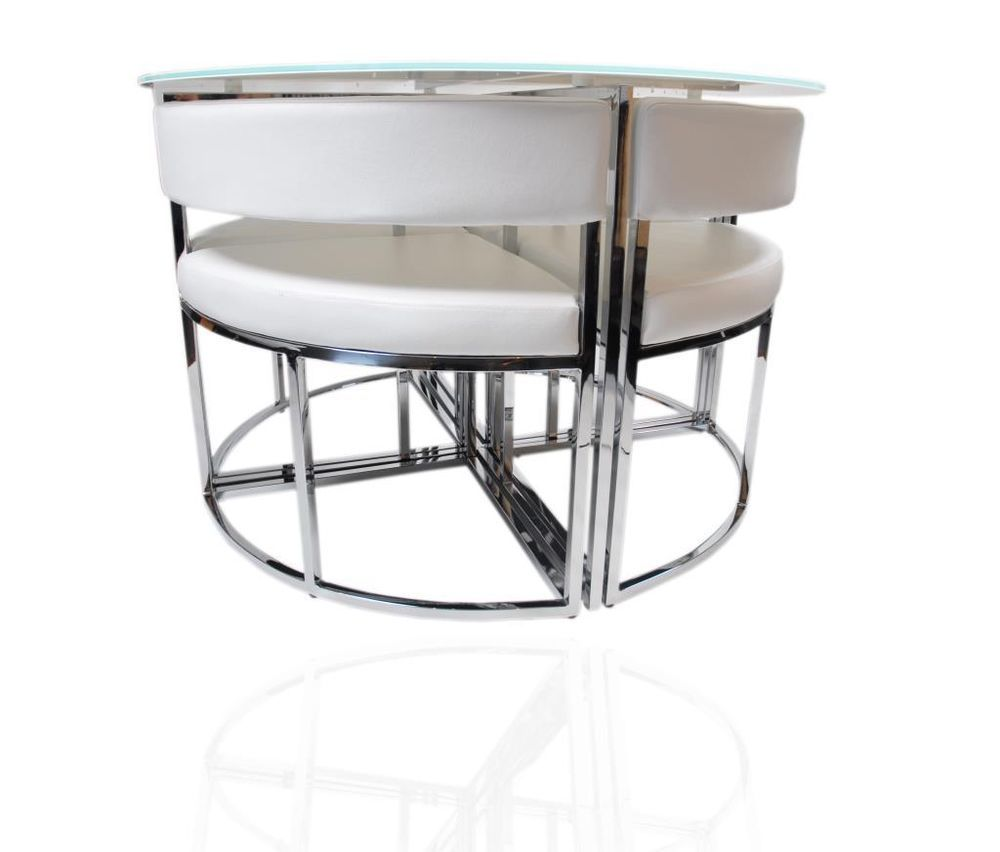 White round stowaway glass dining table and chairs set for White round dining table set