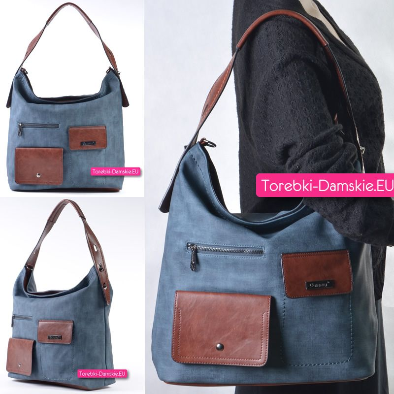 e8a94dfbc6a85 Niebieska torba damska z 4 kieszeniami zewnętrznymi i 5 wewnętrznymi z 4  kieszeniami zewnętrznymi http: