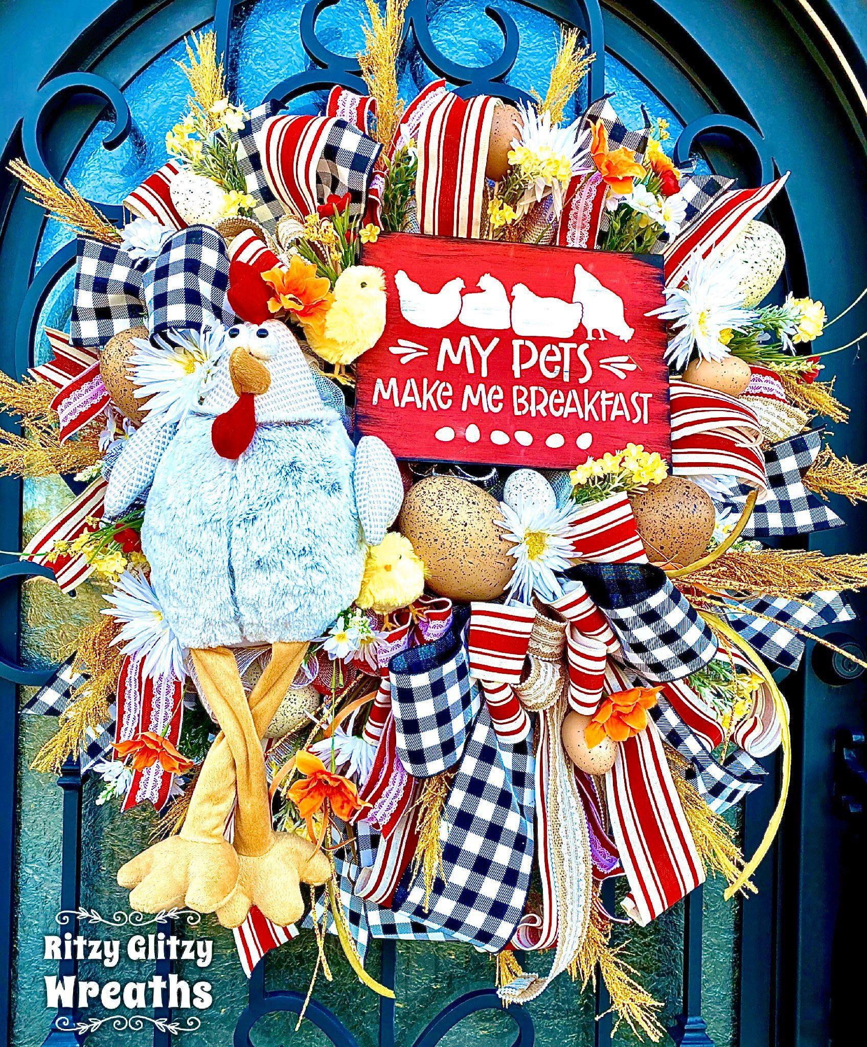 Photo of Farmhouse Wreath, Farmhouse Decor, Chicken Wreath, Farm Wreath, Ranch Wreath, Everyday Wreath, Front Door Wreath, Chicken Decor