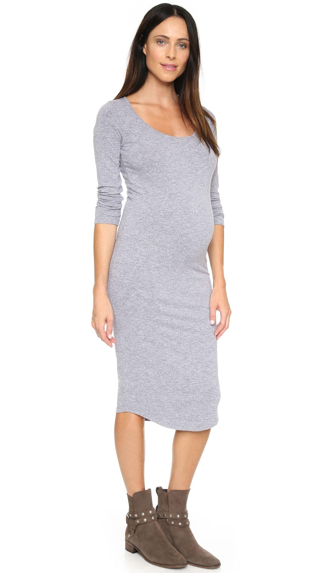 05af976b37e Monrow Maternity Long Sleeve Dress - Granite by  MONROW  Shopbop ...