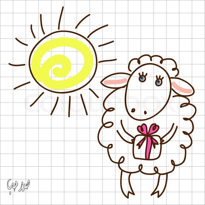صور خروف العيد للتصميم 2016 فكتور لخروف العيد روعه صممي بوستاتك بنفسك Sheep Drawing Cute Sheep Drawings