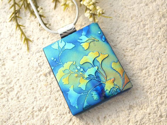 Gingko Leaf  Rainbow Satin Floral  Necklace  Fused by ccvalenzo