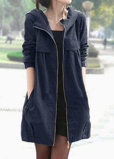 39ec0c76631 Long Sleeve Zipper Up Hooded Collar Coat in 2018