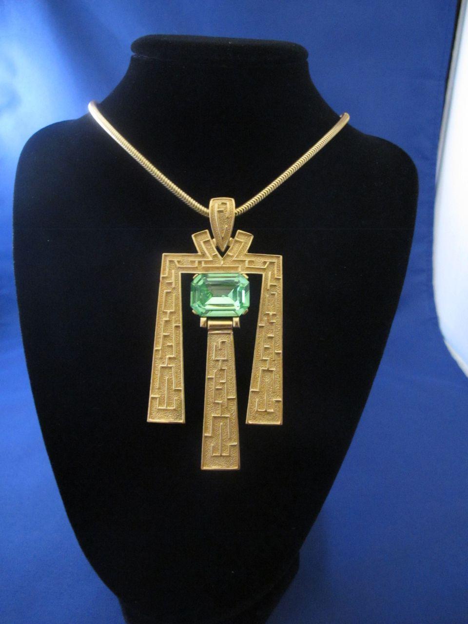 Trifari Egyptian Revival Large Green Rhinestone Gold Tone Necklace