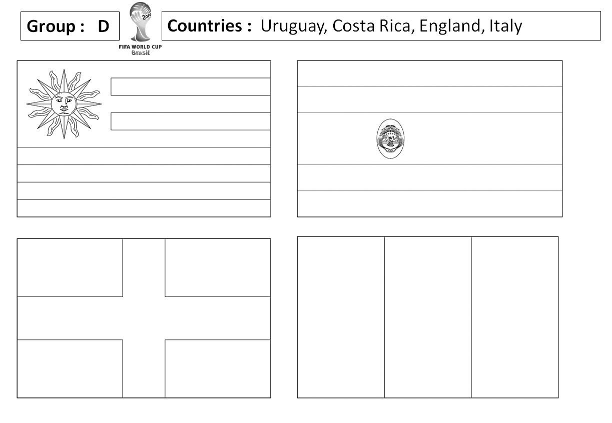 Blank Outlines Of The Flags For Each Of The Countries In