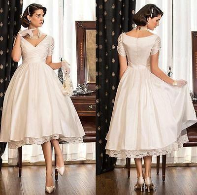 Simple Short Vintage Wedding Dress Cheap Bridal Gown With Lace Tea Length Simple Wedding Dress Short Tea Length Wedding Dress Vintage Short Wedding Dress Vintage