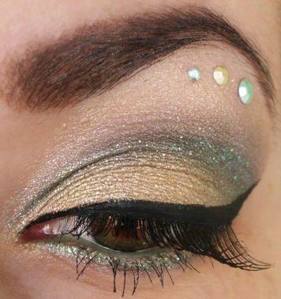 gold  green eye makeup  eye makeup hair colour for