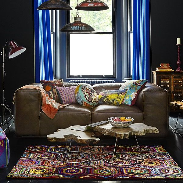 living room inspiration, scruffy brown leather sofa