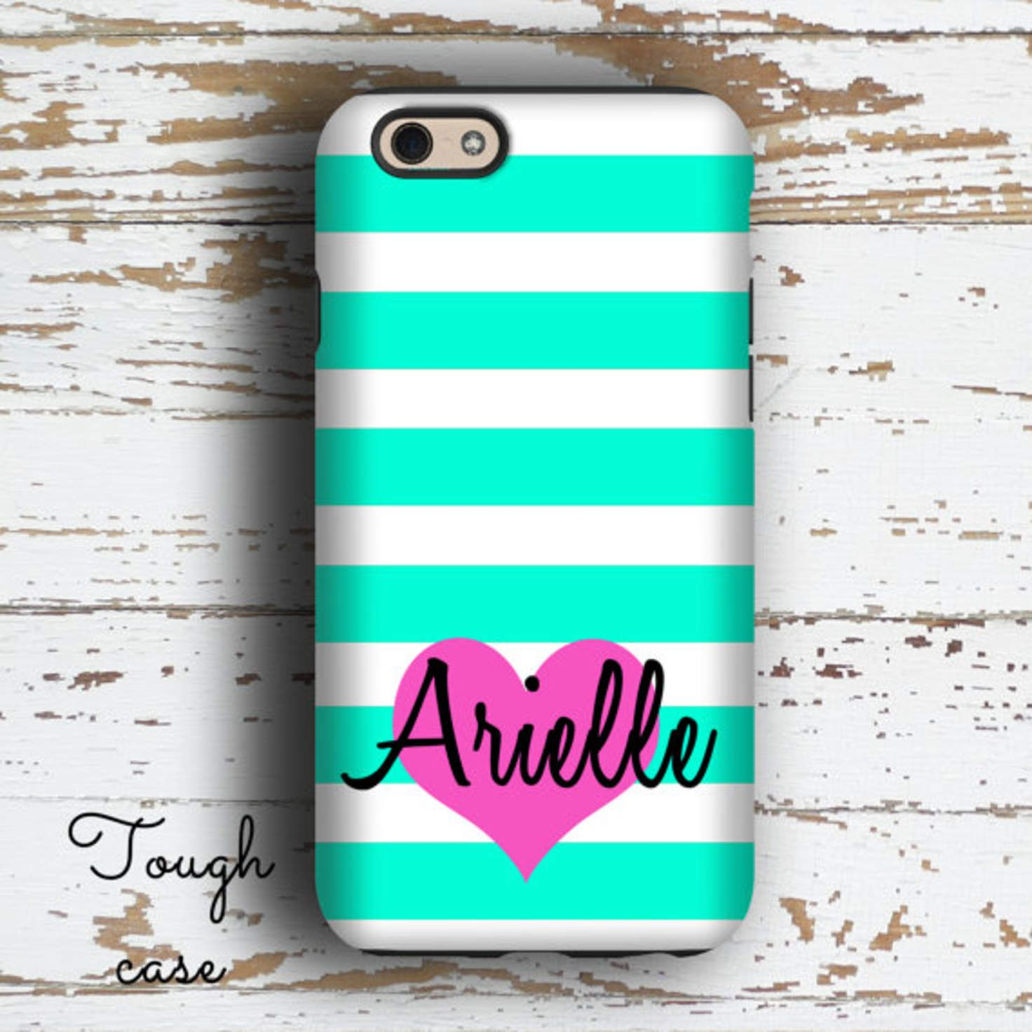 Monogram gift for teenaged daughters, Heart Iphone 6 case, Turquoise iPhone 5c case, Pink iPhone 5 case, Girly Iphone 4 case for her (1414P)