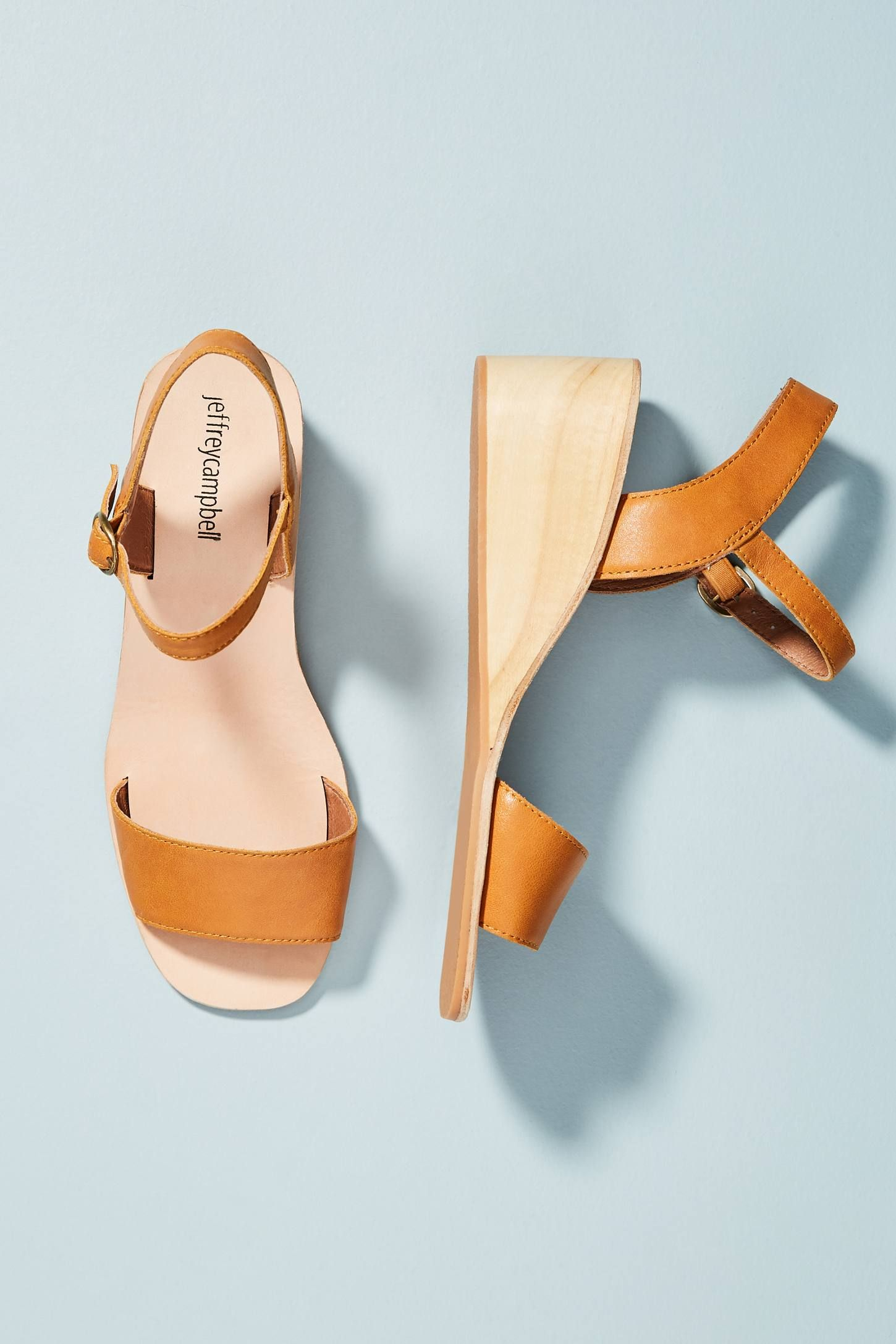 5597f2c9abb Jeffrey Campbell Brook Wooden Wedge Sandals in 2019