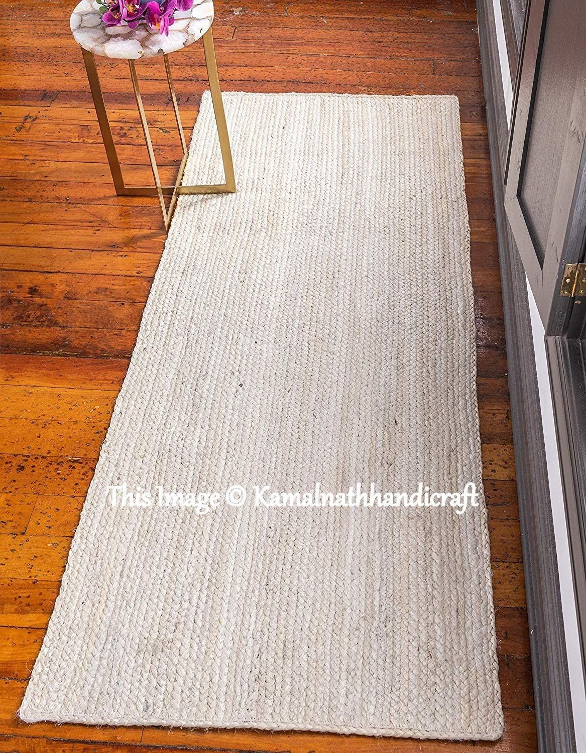Natural Rugs Floor Decor Rugs Indian Braided Jute Rug Rag Hand Woven Natural Jute area Rugs for Home Decor Rugs Living Area Decorative