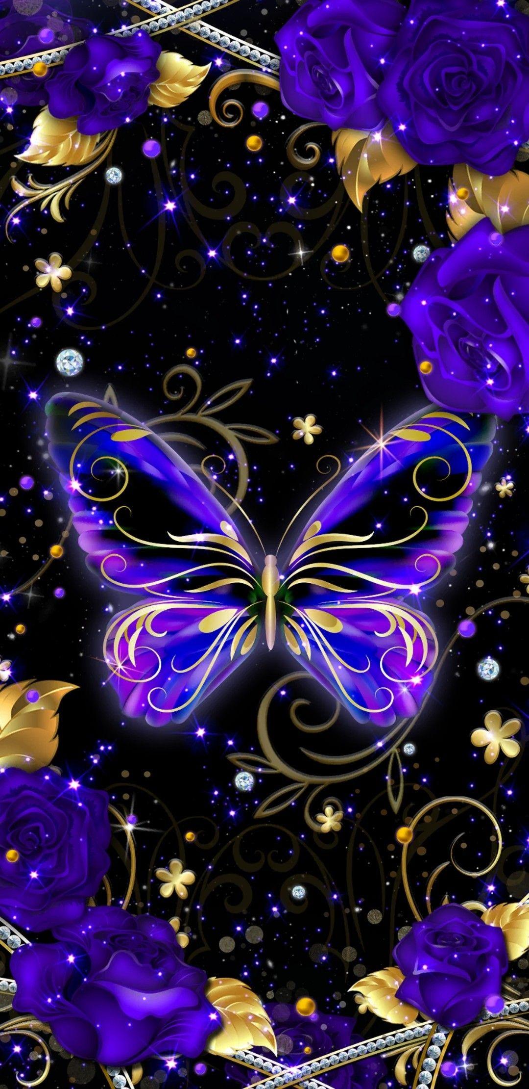 Purple Glitter Butterfly Wallpaper - Download Free Mock-up