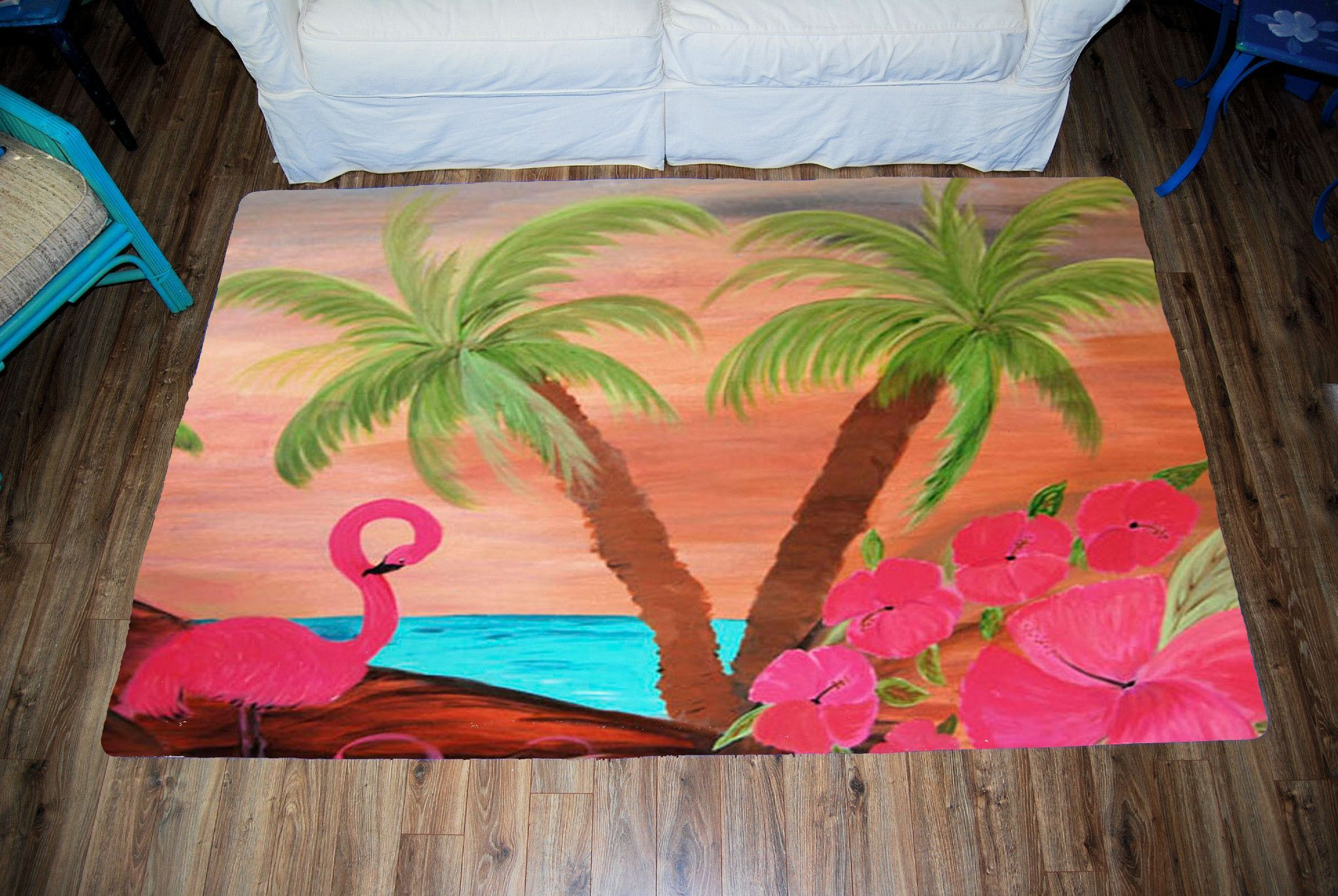 Flamingo in paradise garden tropical bird area rug Plush Area Rug from my art Art appears on the top side, which is made of a soft plush fabric. Bottom is made of durable white rubber mat with rounded