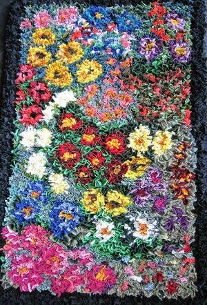 Proddy flower rag rug
