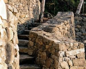 Fieldstone retaining walls and steps, detail. Berkshires