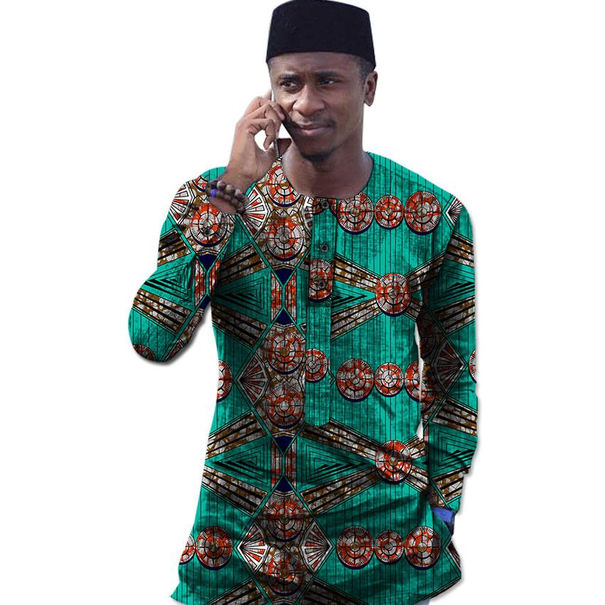 85c44d542 Fashion african tops print long sleeve Ankara shirt men africa t shirt  fashion traditional design dashiki clothes custom made