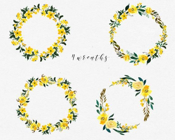 Photo of Yellow Watercolor Floral Wreaths  Clipart Set Wedding Hand Painted Roses Flowers Clip Art Digital Florals DIY Invitation Free Commercial Use