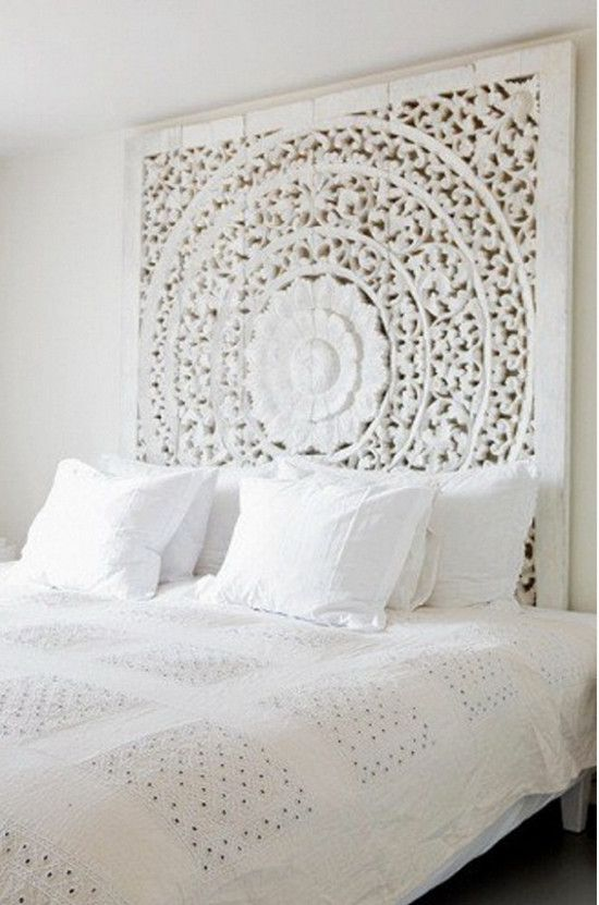 Tall Headboards Whitewashed Asian Pierced Wood Screen Used As A Headboard A Sense Of Design Via Att White Bedroom Design Asian Home Decor Indian Home Decor