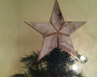 White Wooden Christmas Star Tree Topper Decoration 12 Inch Etsy Christmas Tree Toppers Star Tree Topper Tree Toppers
