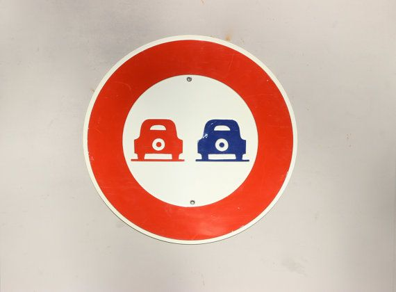 Vintage French Road Sign. No Overtaking Sign. by LePasseRecompose