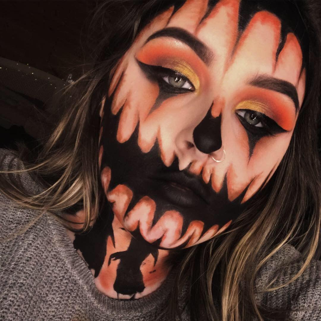 Scary pumpkin. Makeup. Halloween makeup. (With images