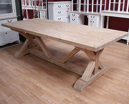 Rustic Oak Cross Leg Heavy Dining Table Buy From The Oak