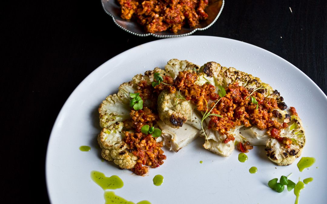 Roasted Cauliflower Steak. Romesco Sauce.