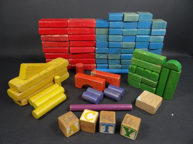 Colorful Playskool Wooden Building Blocks Vintage Toys And Books