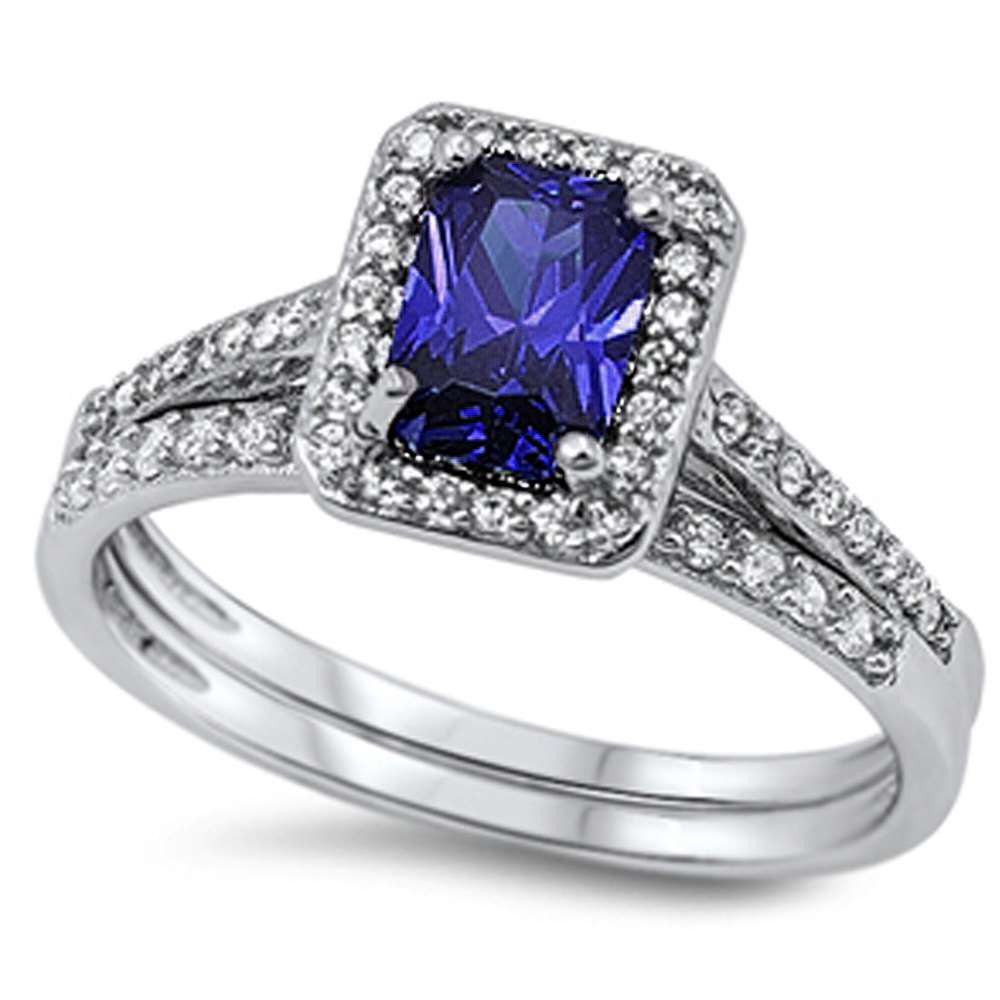 Halo solitaire accent two piece wedding engagement ring ct