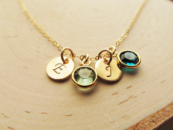 Mothers birthstone necklace 14kt gold filled birthstone initial mothers birthstone necklace 14kt gold filled birthstone initial charm necklace personalized mothers jewelry aloadofball Image collections