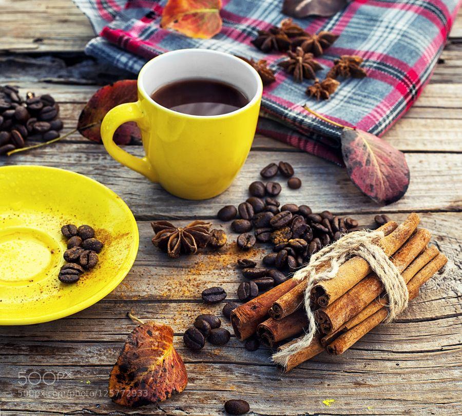 Freshly brewed coffee in the fall by nikolay_2002 Food