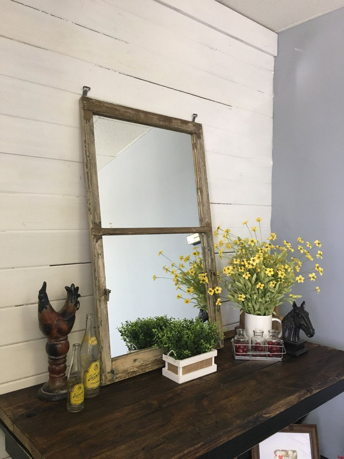 distressed mirrored furniture. Large Mirror, Distressed Window Pane Home Decor,Mantel Bedroom Rustic Furniture, Wood Mirror Mirrored Furniture A
