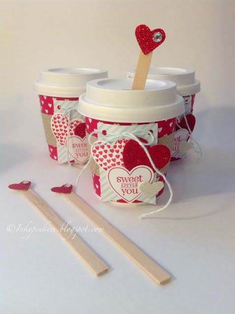 InkyPinkies: Stampin' Up! Mini Coffee Cup Valentines & Birthday Favors. Link to templates! #coffeecup