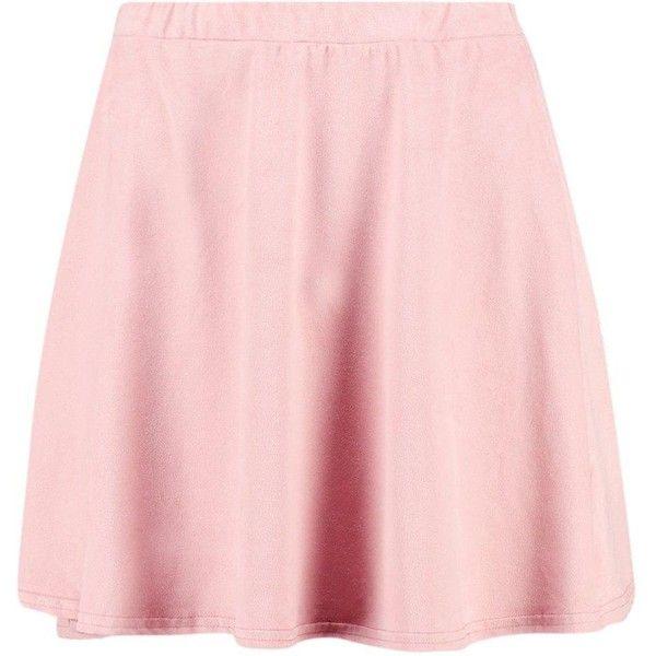 Boohoo Viola Suedette Skater Skirt | Boohoo ($16) ❤ liked on Polyvore featuring skirts, midi circle skirt, skater skirts, pink midi skirt, pink skirt and pink circle skirt