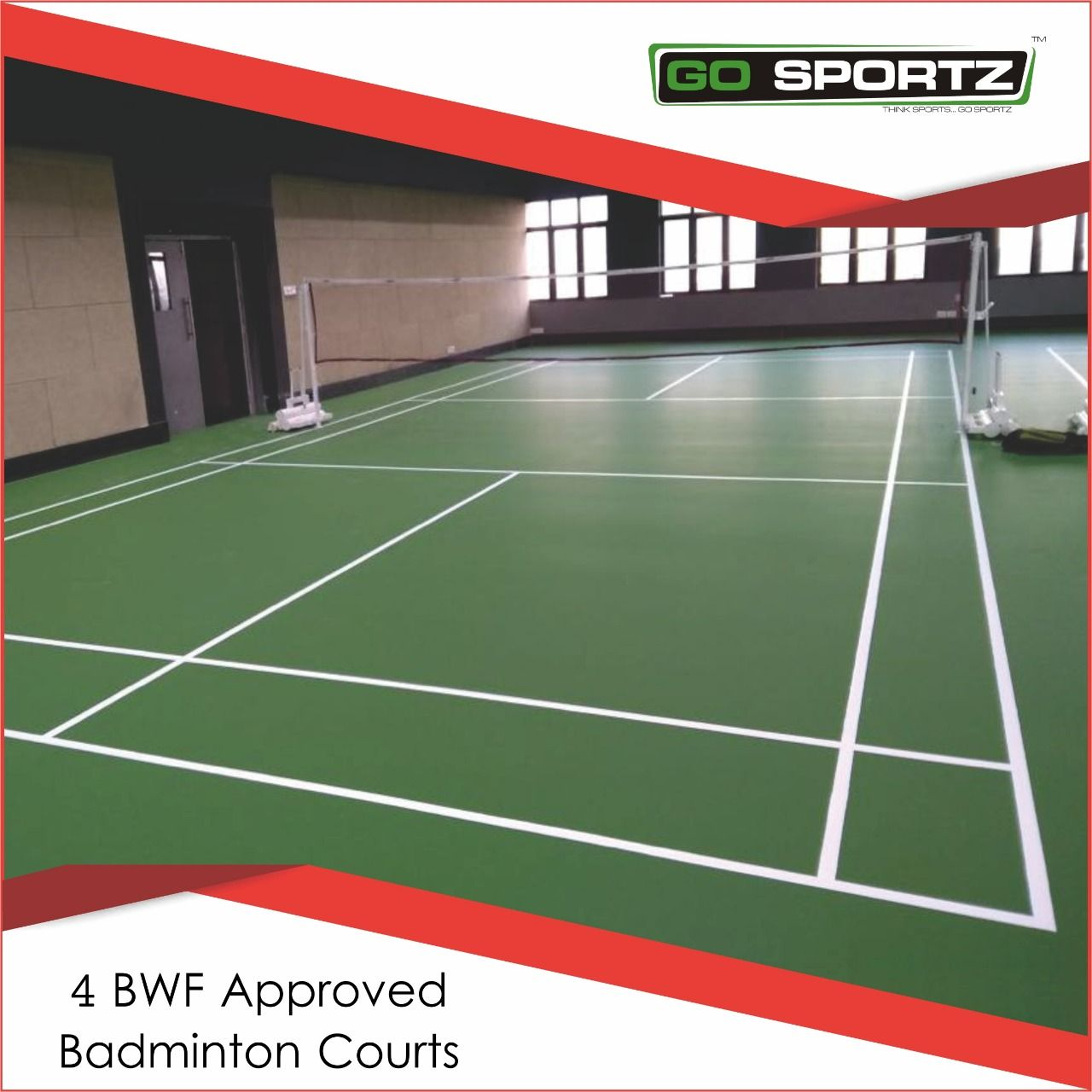 Go Sportz completed 4 Badminton Courts with the BWF