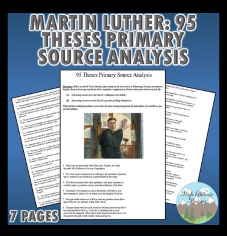 95 Theses Primary Source Analysis Martin Luther Primary Sources Teaching History