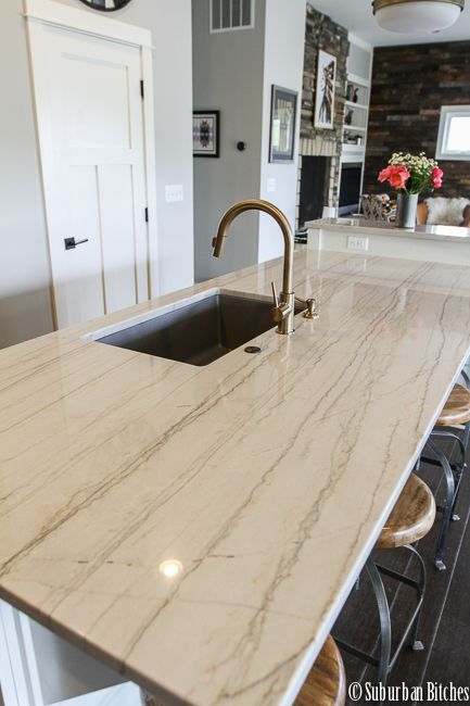 White Macaubus Quartzite Countertops Ranch Kitchen