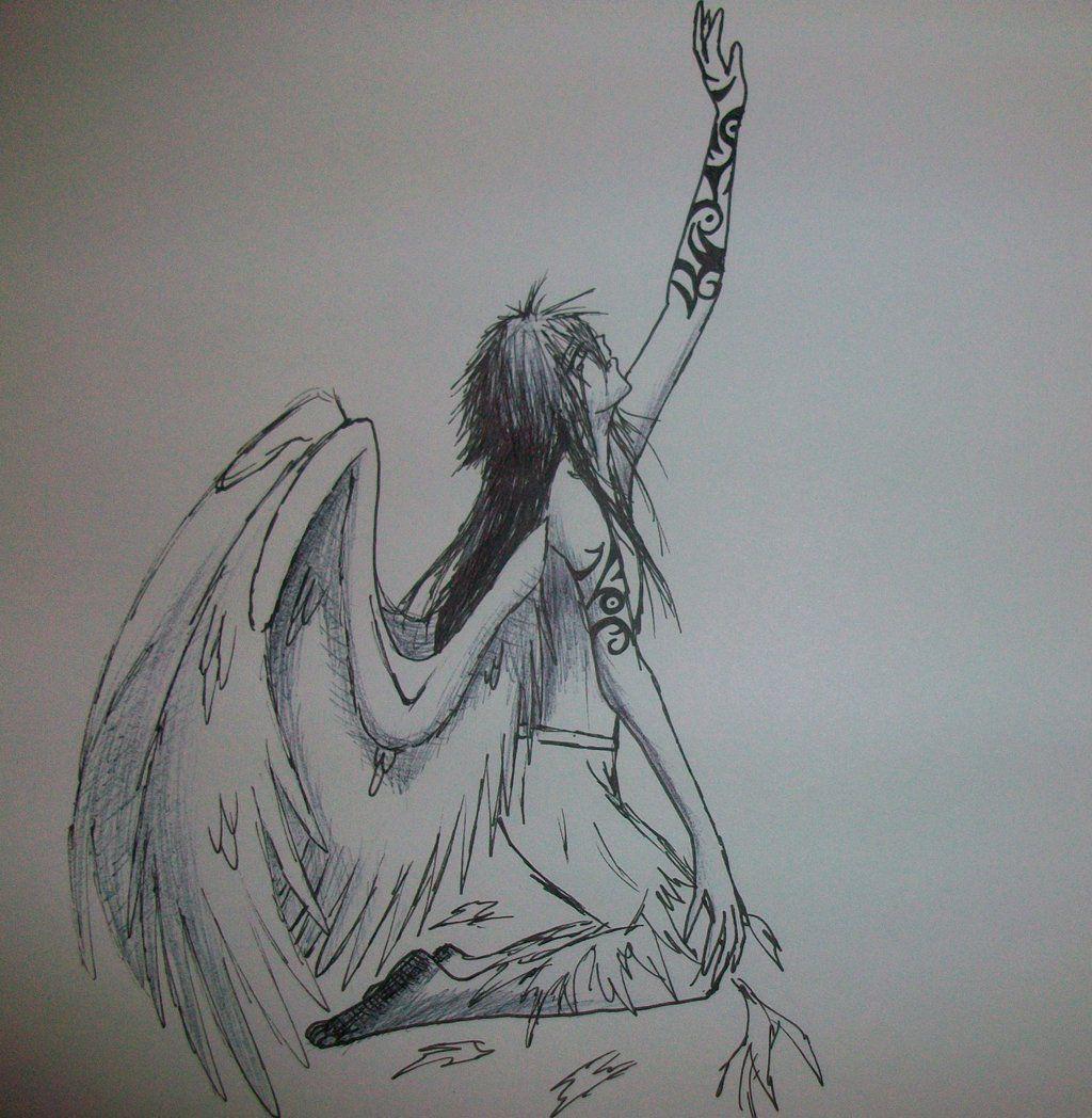 Fallen Angel Angel Drawing Angel Sketch Anime Art Dark