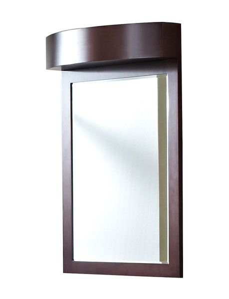 24-in. W x 36-in. H Transitional Cherry Wood-Veneer Wood Mirror In Coffee