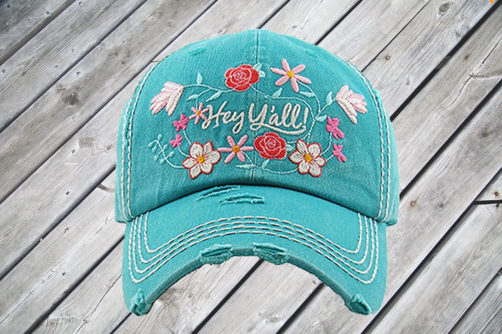 All The Colours Of The Dark Federale Distressed And Faded Turquoise Hey Y All Cap Pixie Posh Apparel Vintage Cap Trendy Prints Patchwork Sweatshirt
