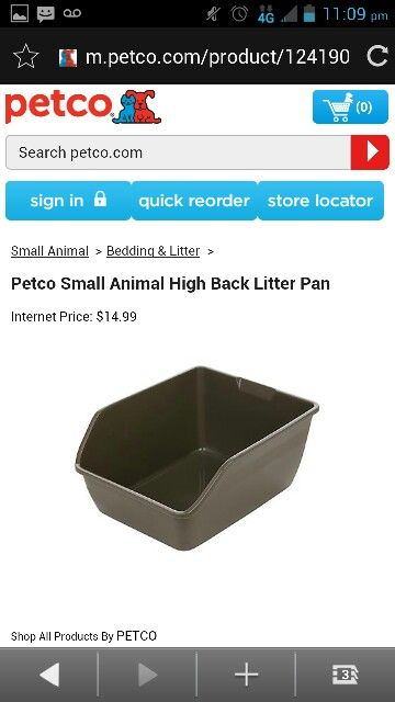Petco Small Abimal High Back Litter Pan Small Animal Bedding Litter Pan Small Pets