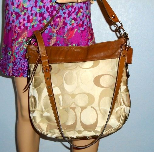 f754433a88866 ... low cost 4 coach zoe signature brown optic large hobo shoulder bag vgc.  starting at