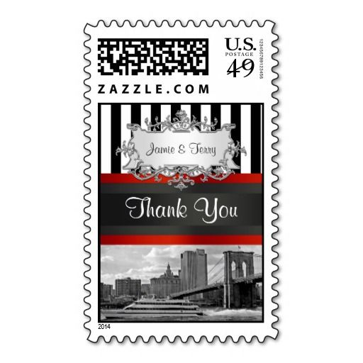 Nyc skyline brooklyn bridge boat thank you stamp