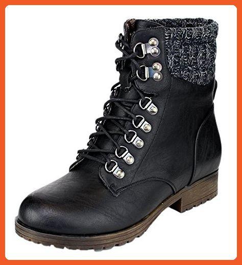 Women's Wynne-07 Knit Cuff Lace Up Combat Winter Boot