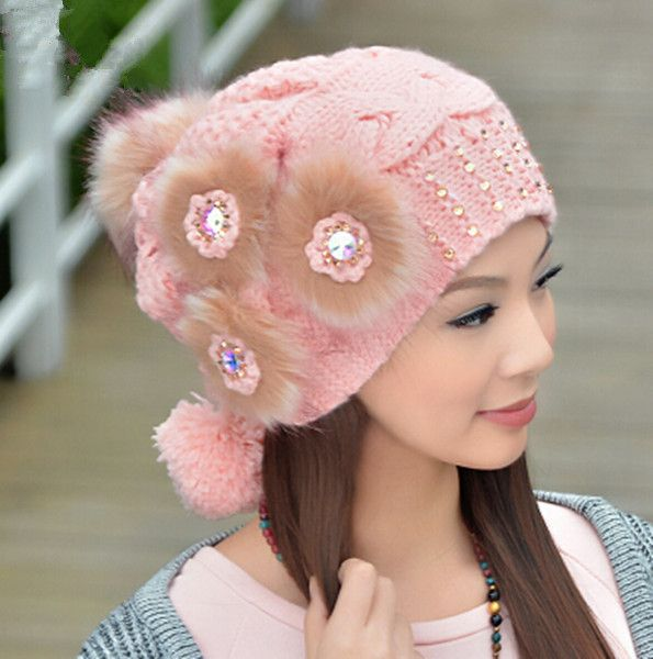 Cheap flower knit hat for women with hairball winter hats