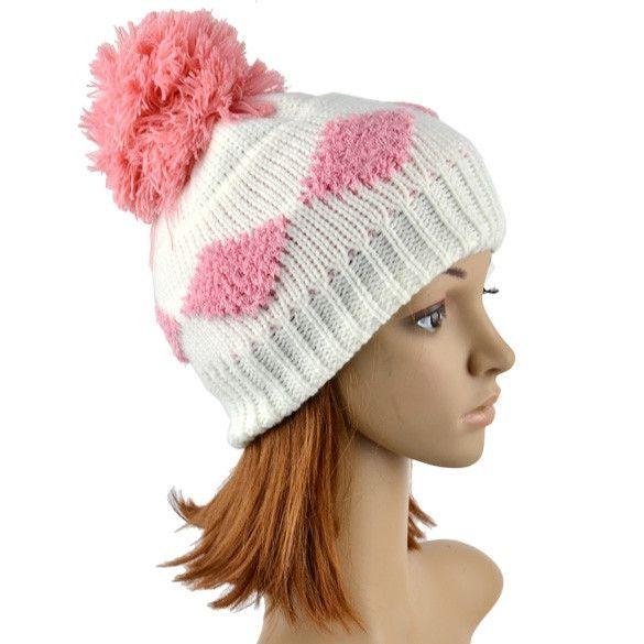 New Women\'s Diamond Grid Pattern Beanie Crochet Knit Winter Hat ...