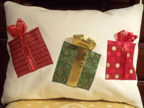 Christmas pillows/Appliqued Pretty Packages With Ribbons And Bows on a  12 x 16 Inch Pillow Cover #prettypackaging