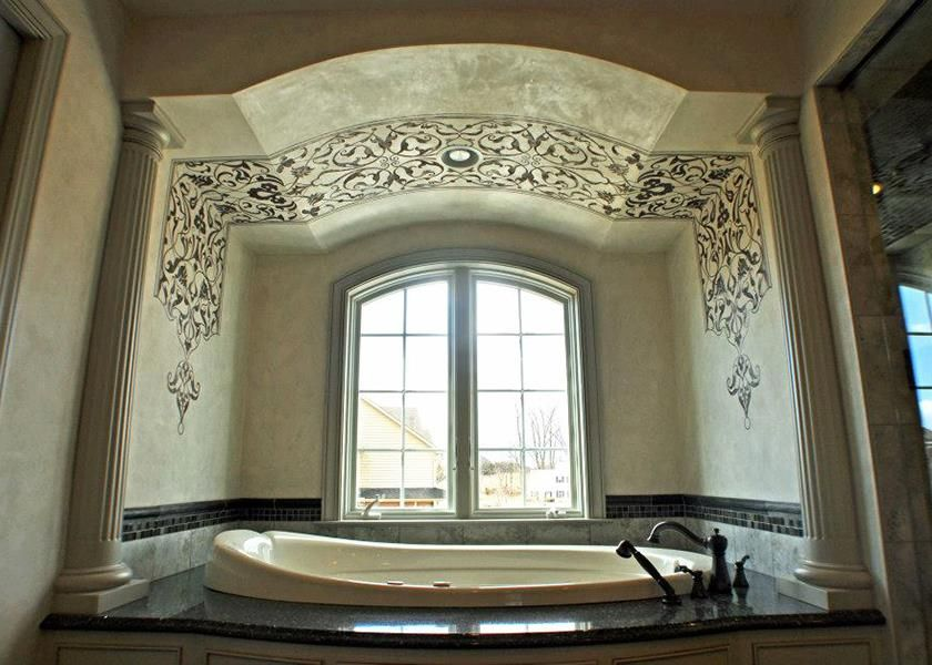 Artist tom henman used metallic plaster with eastern panel modello designs vinyl stencils easpan105