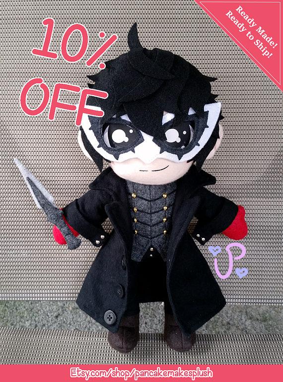 Persona 5 Mega Jumbo Plush Doll Stuffed toy hero Ren Amamiya Joker 34cm JAPAN