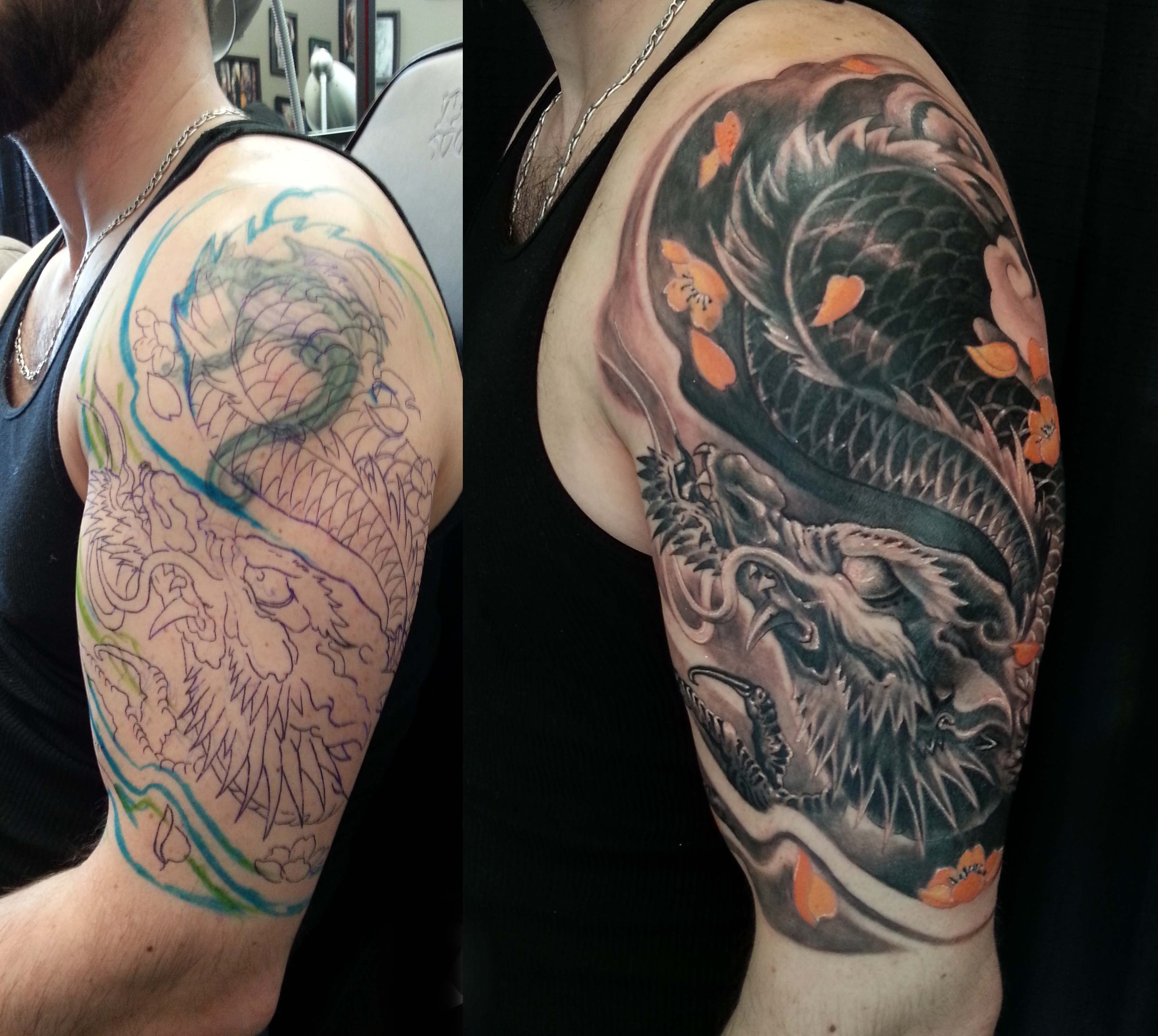 Half sleeve black and grey colour dragon cover up tattoo for Tattoo cover sleeves